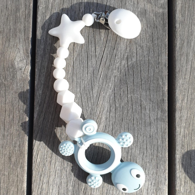Anneau de dentition bébé tortue bleu  avec attache