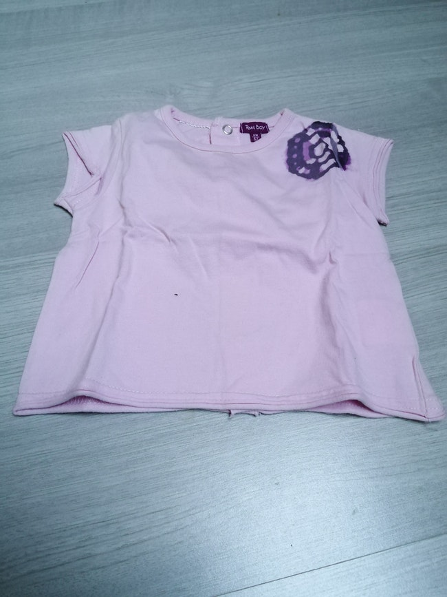 Tee shirt manches courtes rose 6mois