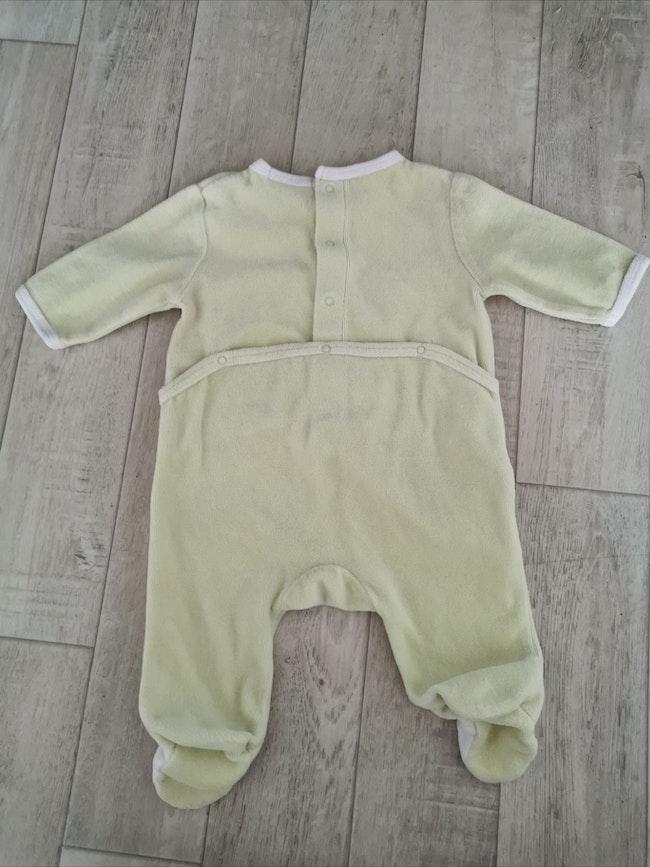 Pyjama velours jaune pâle blanc 3 mois kitchoun