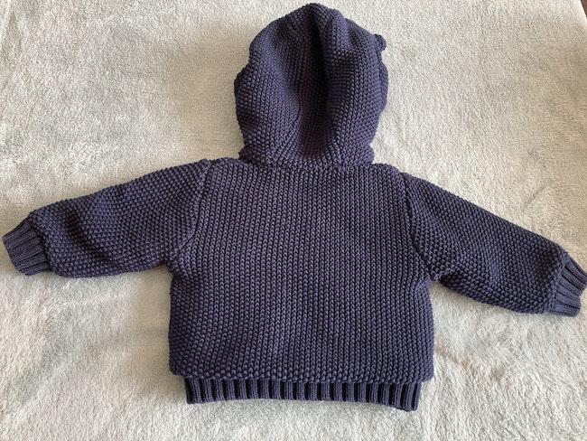 Veste chaude à capuches bleu marine 3 mois