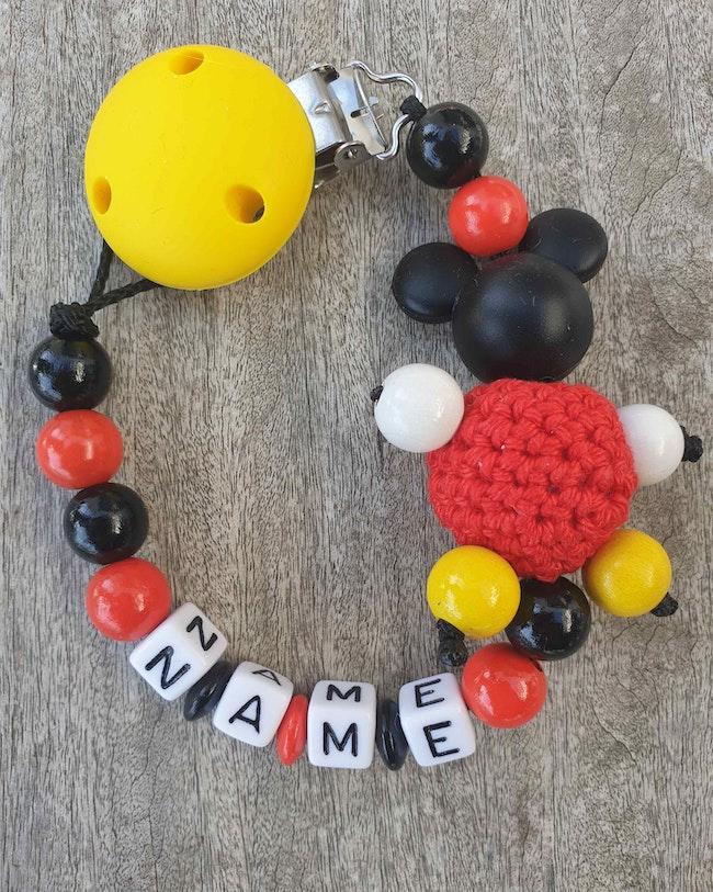 Attache tétine bébé Mickey perle crochet