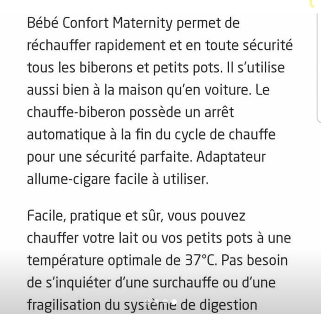 Chauffe biberon express maison auto bébé confort