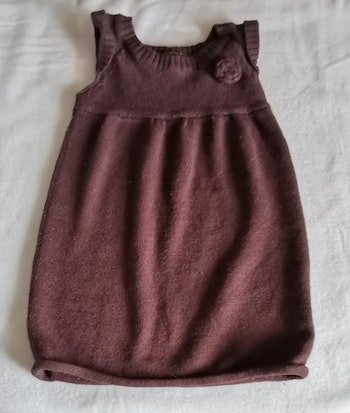 """Robe 5 ans """"laine"""" taupe sans manches NKY"""