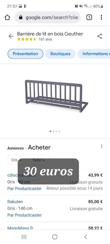 Barrière de lit neuve