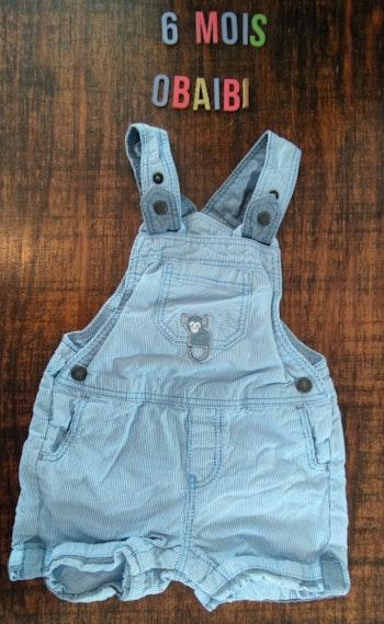 Salopette short jean bleu 6mois