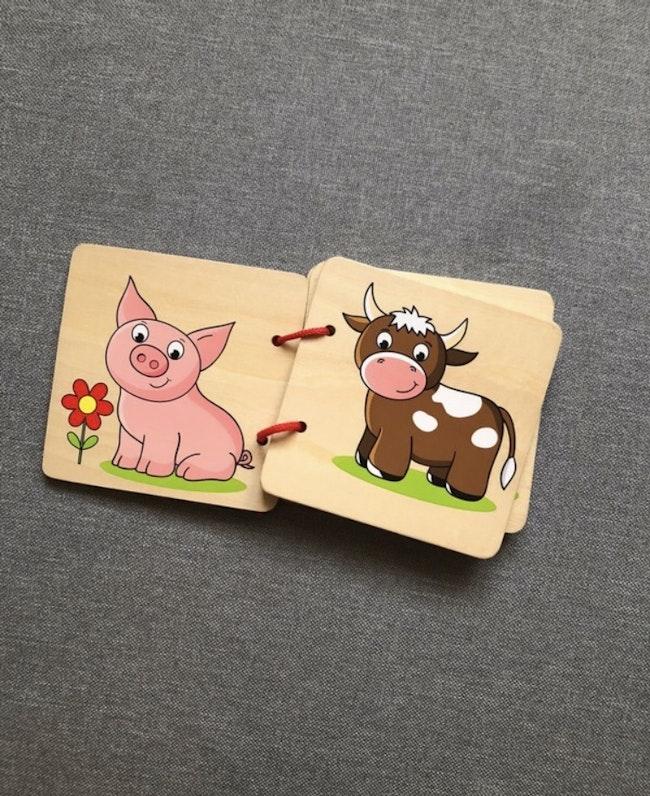 Imagier en bois animaux