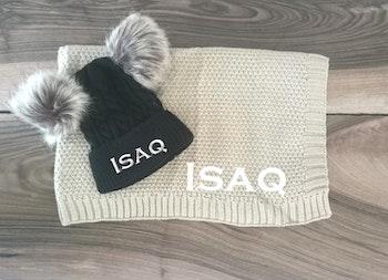 Plaid en tricot + bonnet à personnaliser