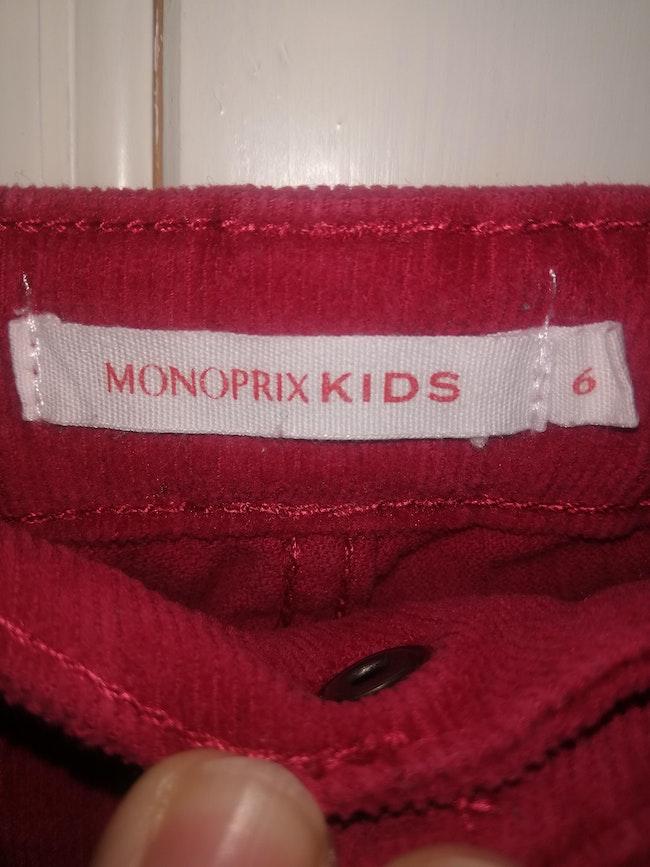 Pantalon velours monoprix
