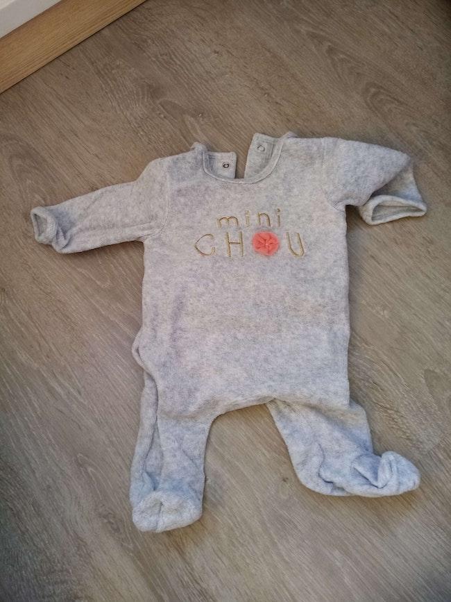 Pyjama velours 1 mois gris