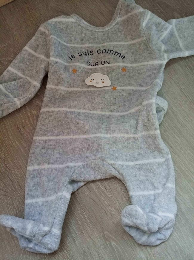 Pyjama velours 1 mois ☁