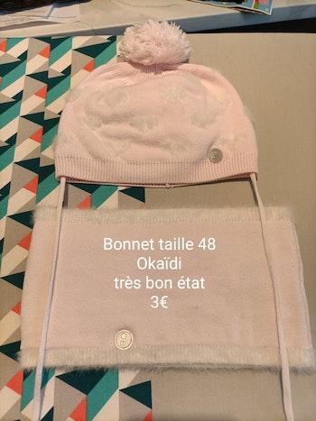 Bonnet et tour de cou taille 48 Okaïdi fille