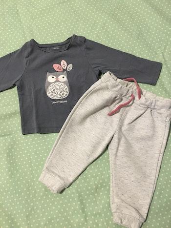 Ensemble jogging teeshirt bébé fille 12 mois okaidi