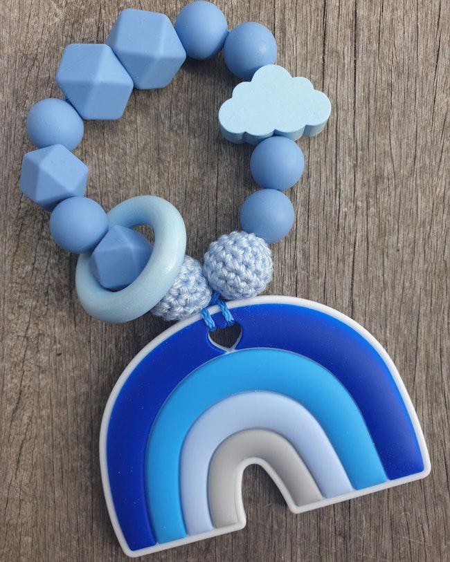 Anneau de dentition bébé bleu perle silicone