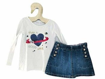 4 ans fille ensemble Teeshirt sequin et jupe en jean