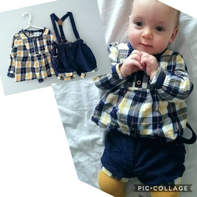 6 mois bébé fille ensemble tenue obaibi okaidi, short bretelle blouse
