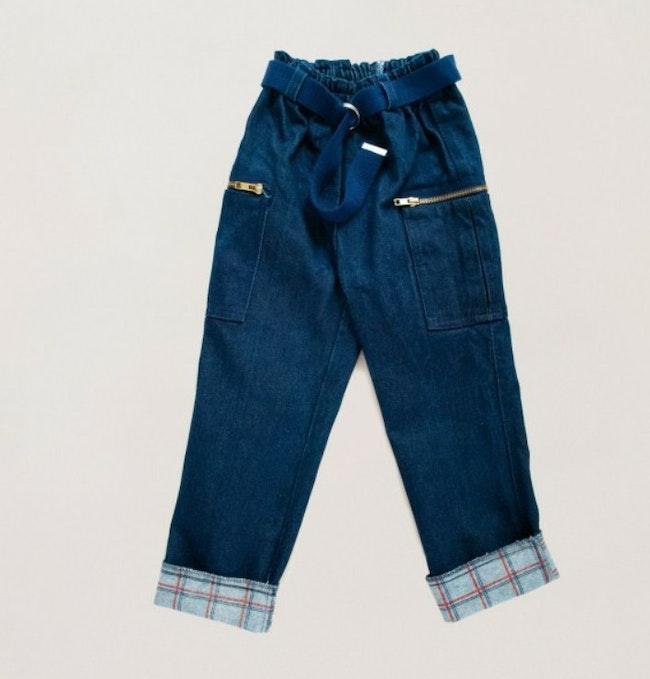 Pantalon denim brut et revers écossais / 6 ans
