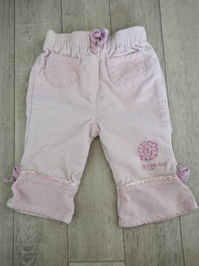 Pantalon peau de pêche rose pâle Kimbaloo 12 mois