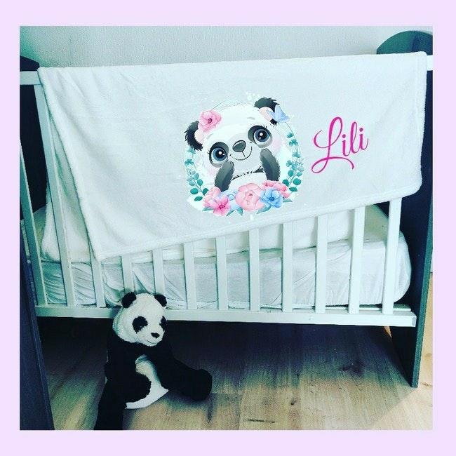 Coussin bébé panda personnalisé