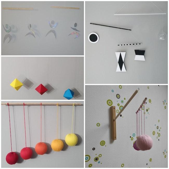 Lot de 4 mobiles pour bébés + support mural.