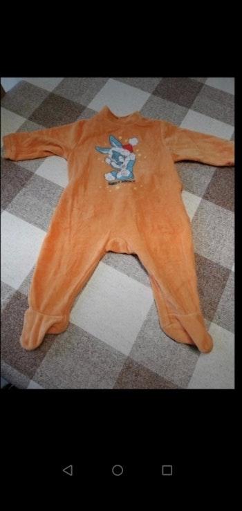 Pijama 6 mois épais orange Looney Tunes lapin Noël