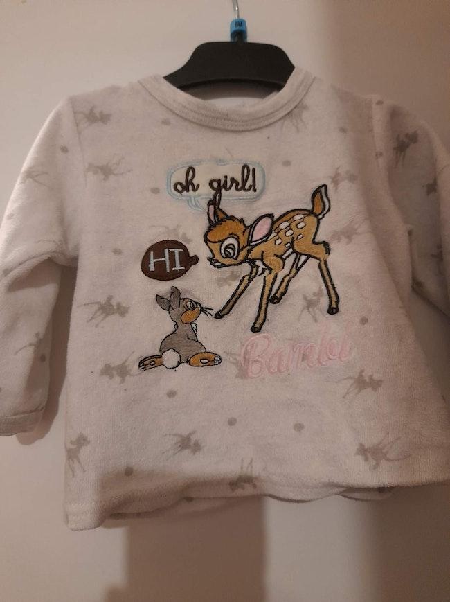 Haut pyjama Bambi fille 9 mois