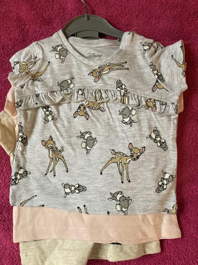 3 jolis tee-shirts bambi et panpan