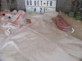 Vertbaudet Combinaison en fausse fourrure Disney Aristochats® fille - blanc clair uni avec décor taille 2 ans et chaussons ballerines Disney