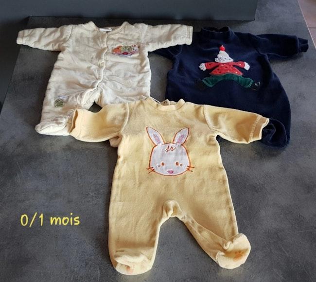 Lot pyjamas hiver 0/1 mois