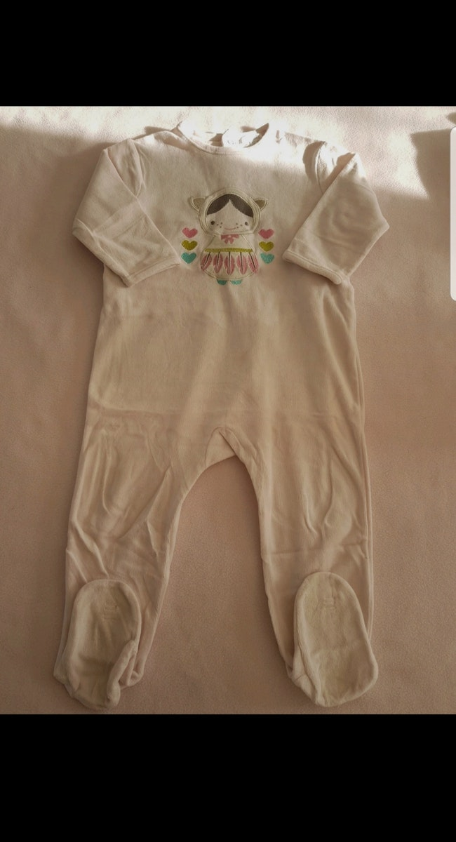 Grenouillère velours enfant fille 24 mois