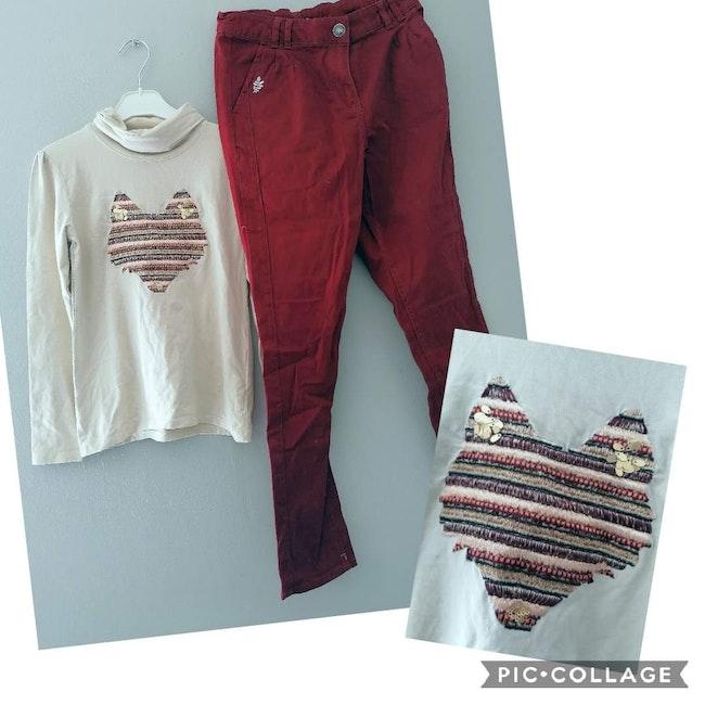 12 ans fille #cathlaul12ans ensemble tenue tee-shirt col roule, pantalon