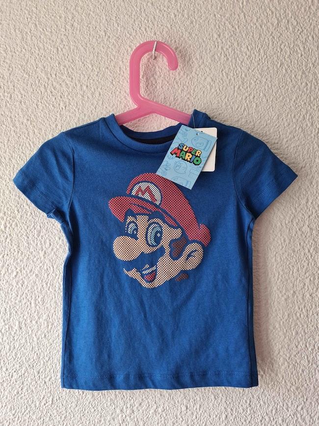 tee-shirt bleu super Mario Nintendo