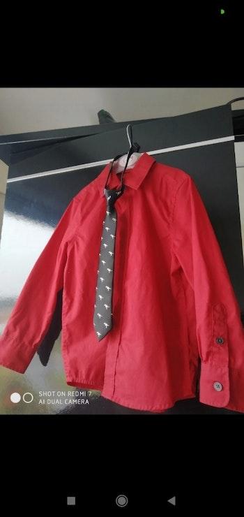Chemise rouge cravate dinosaures garçon