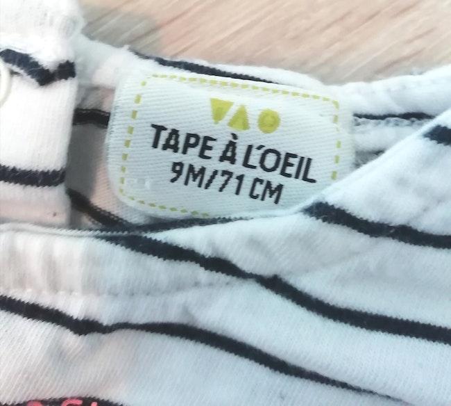 """T-shirt sans manches Marinière """" La vie est belle"""" Tape à l'œil T. 9mois"""