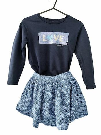 6 ans fille ensemble pull sweat sequin et jupe okaidi