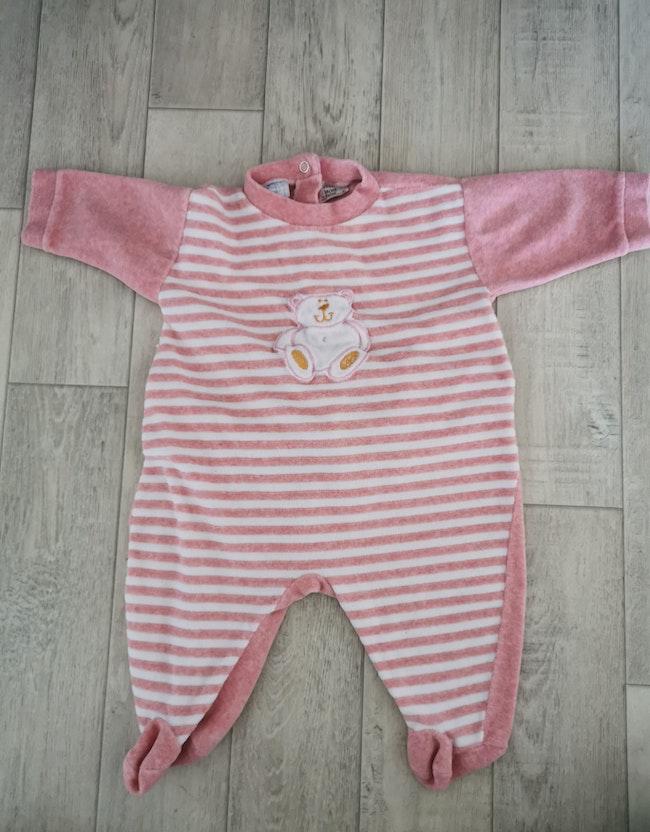Pyjama velours rose chiné 6 mois