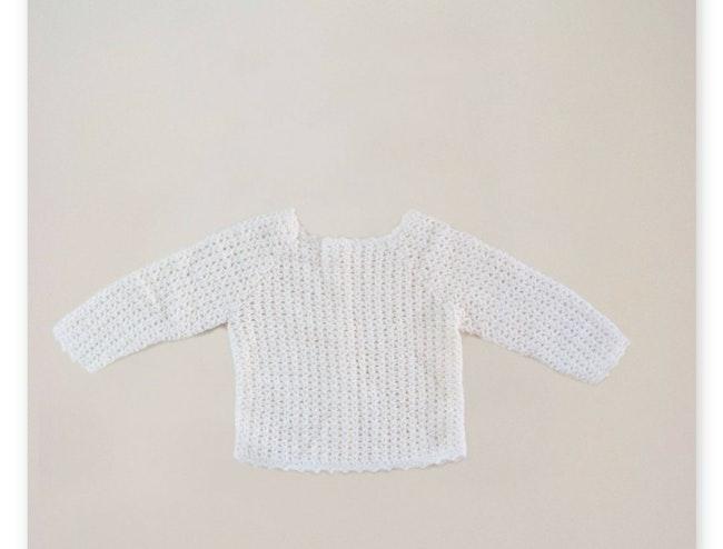 Gilet tricot point dentelle / 6-9 mois