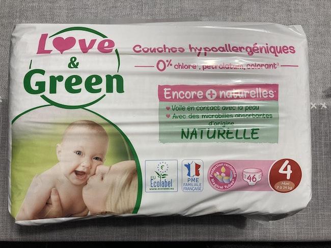 1 carton de 6 paquets de couches bio Love&Green taille 4