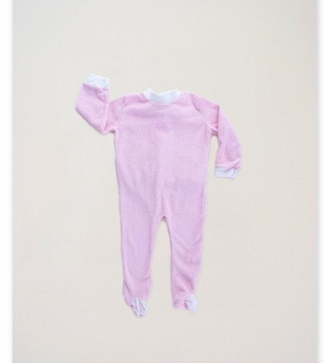 Pyjama éponge rose pastel / 12-18 mois