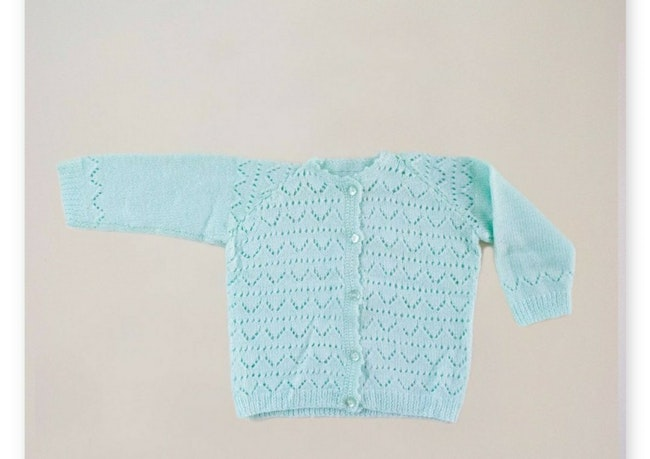 Gilet tricot vert d'eau / 9-12 mois