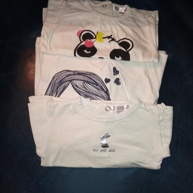 Lot de 3 t-shirt manches longues fille 3 mois