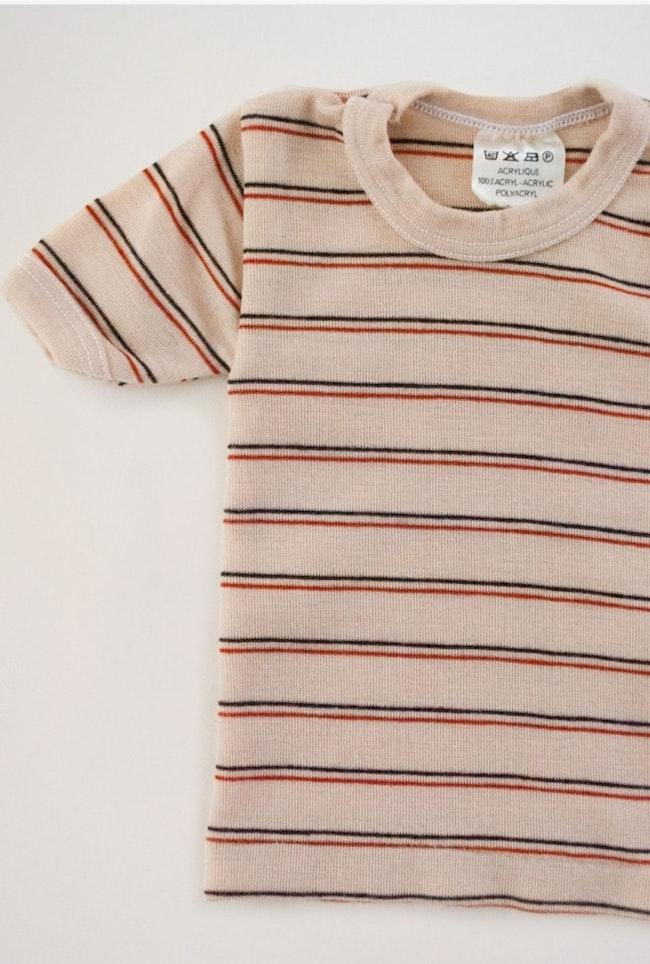 Tee-Shirt 70s Rayures Marron Et Terracota