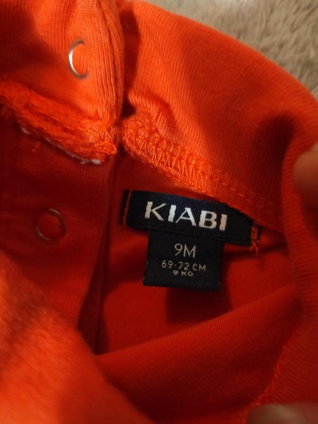 Tee-shirt manches longues rouge/orangé 9 mois Kiabi