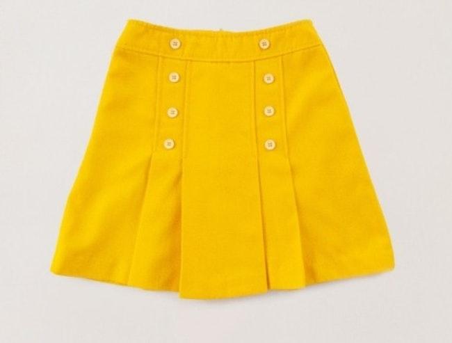 Jupe plissée jaune citron 60's / 7 ans