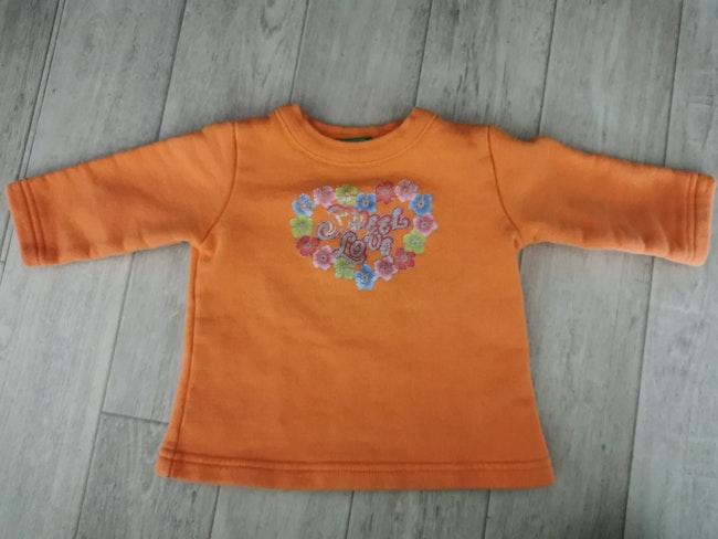 Sweat Benetton orange dessin pailleté 6 mois