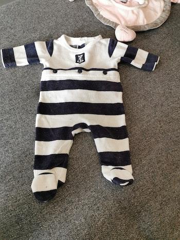 Pyjama velours bleu et blanc, 1 mois, Jacadi