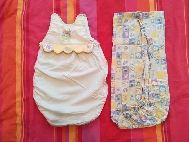 Turbulette naissance et drap housse et lot 9 vêtements bébé