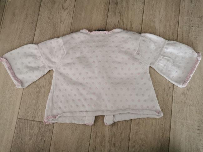 Gilet blanc à pois rose Bob et Julie 6 mois