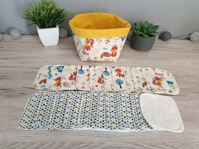 Lingettes lavables avec paniére