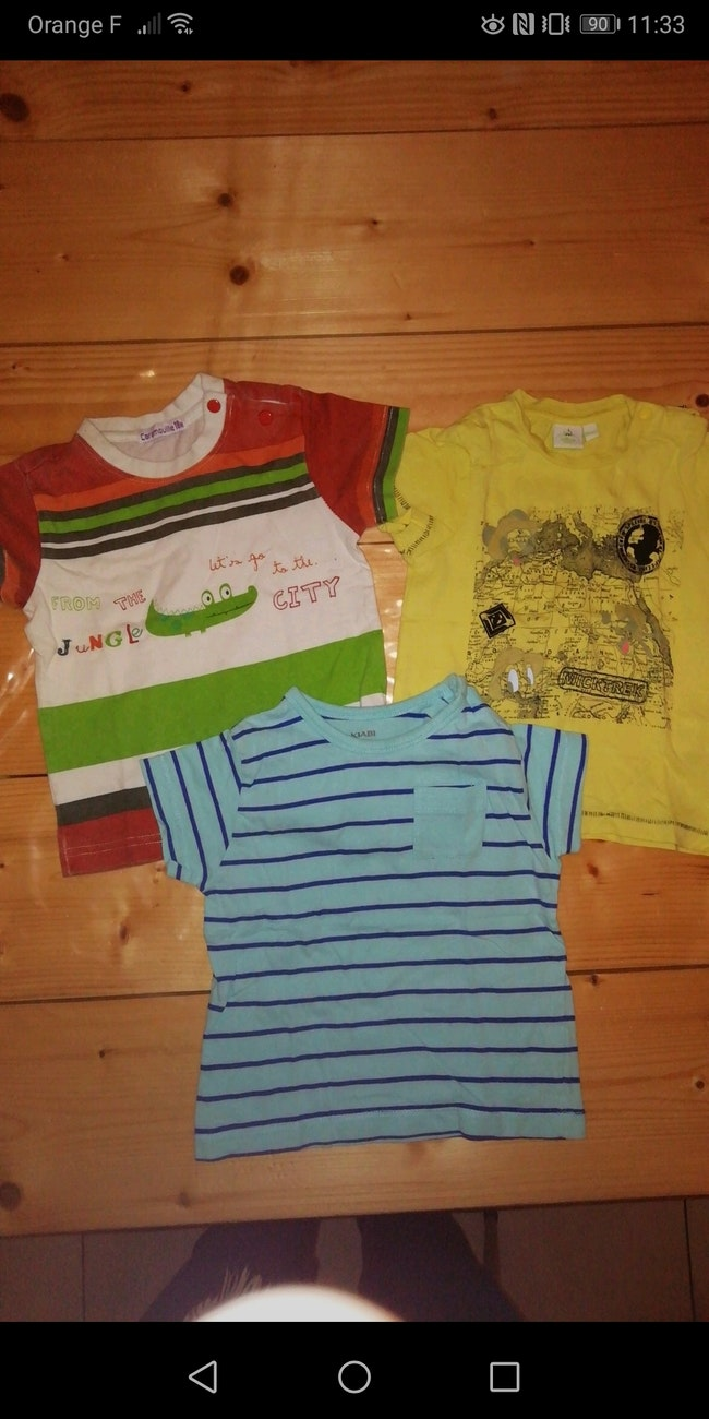 Lot de 3 t-shirts manches courtes 18 mois