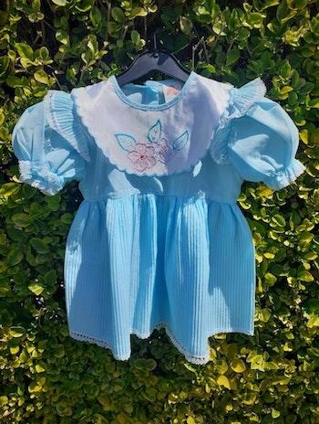 Robe bleue avec col + culotte vintage fille